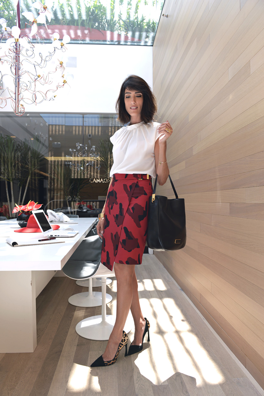 eight30 -  red skirt - h&m - marc jacobs bag