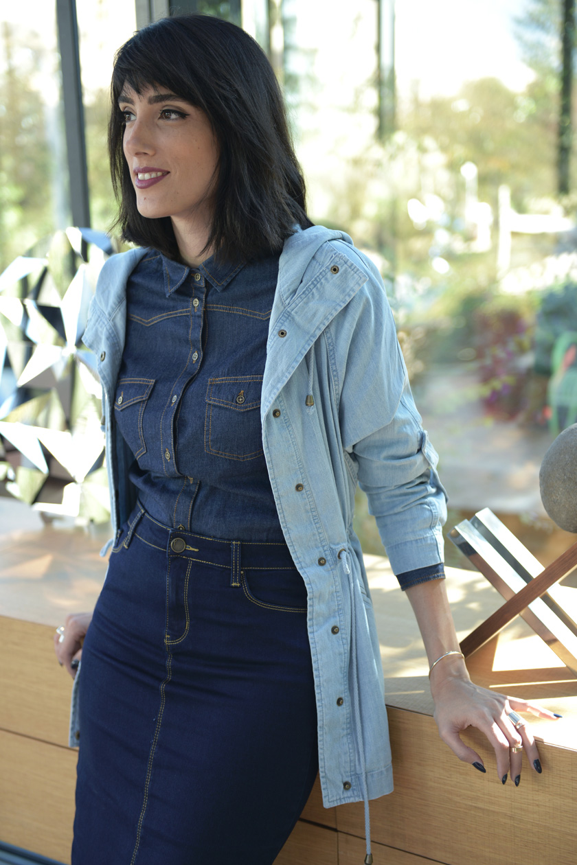 eight30 renuar denim shirt skirt jacket