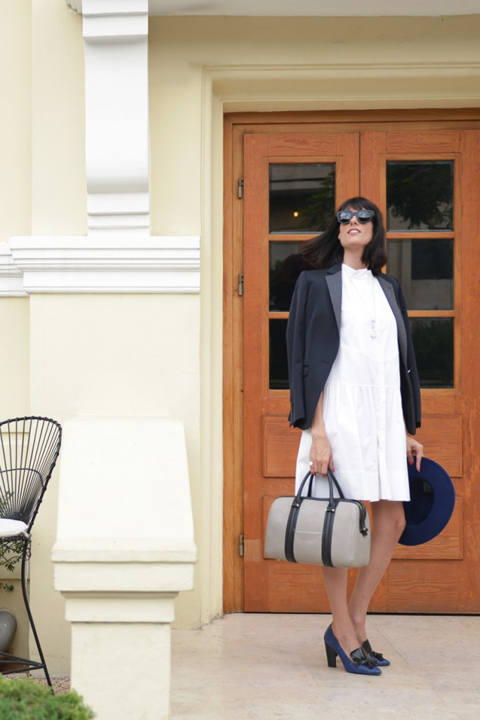 eight30 morning coffee white dress blue jacket chloe stora sunglass acne studios