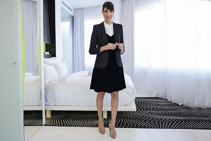 eight30 - velvet dress jacket heels - h.stern - chanel makeup - castro - zadig & voltaire - the poli house hotel tel aviv