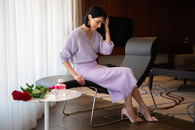 EIGHT30 30 Mon Guerlain Edt Bloom Of Rose h&m sweater zara skirt heels intercontinental hotel tel aviv